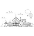 paris skyline line art 10 vector image