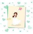 Photo card on clip bride in dress throwing bouquet