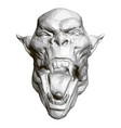 polygonal demon head with open mouth and sharp vector image