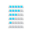 rating from five blue squares vector image vector image