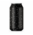 Realistic black aluminum can with drops vector image