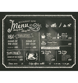 restaurant menu design on chalkboard background vector image vector image