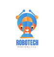robotech logo design badge for company identity vector image