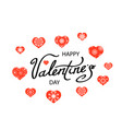 romantic red hearts set cute lettering symbol of vector image