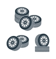 rubber wheel tire rim drive car vector image