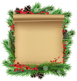 Scroll paper with spruce branches vector image vector image