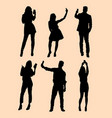 selfie gesture silhouette vector image