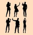 selfie gesture silhouette vector image vector image
