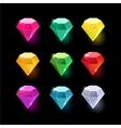 set cartoon different color crystals vector image vector image