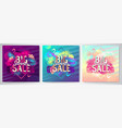 set colorful summer big sale tropical posters vector image