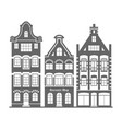 set of 3 shape holland old houses facades vector image vector image