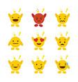 set of emojis with hands design vector image