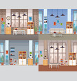 set of office interiors vector image vector image