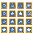 star icons set blue vector image