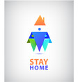 stay home logo family 3 sitting home vector image