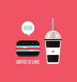 take away coffee cup and delicious hamburger vector image