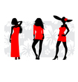 three girls silhouettes vector image