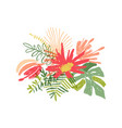 tropical hand drawn flower leaf composition vector image vector image