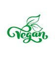 vegan logo food design vector image vector image