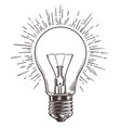 vintage light bulb in engraving style hand drawn vector image vector image
