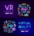 virtual reality neon website banners vector image