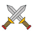 warrior swords isolated icon vector image vector image