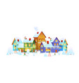 winter city people decorate house christmas vector image vector image