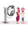 woman with doctor at magnetic resonance imaging vector image