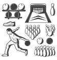 monochrome vintage bowling elements collection vector image