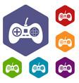 video game console controller icons set hexagon vector image