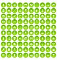 100 fire icons set green circle vector image vector image