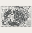abstract city map with coat arms and wind rose vector image