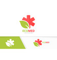 ambulance and leaf logo combination vector image vector image
