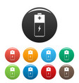battery icons set color vector image vector image