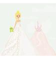 Beautiful young princess holding a big green frog vector image vector image