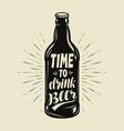 beer bottle retro pub brewery vintage vector image