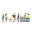 big queue shopping people at cash desk with vector image vector image