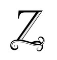 black letter z capital letter for monograms and vector image vector image