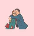 businessman hugs a man embracing another support vector image vector image