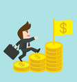 Businessman is walking up the stair of money vector image