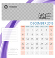 Calendar 2015 December template with place for vector image vector image
