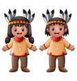 cartoon children native indian american vector image