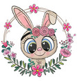 cartoon rabbit in a flowers frame vector image vector image