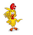 cartoon yellow chicken vector image vector image