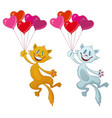 cats with valentine balloons vector image
