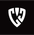 cc logo monogram with shield elements shape vector image vector image