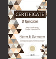 certificate or diploma geometric design template 9 vector image vector image