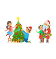 christmas holiday preparation and tree decoration vector image vector image
