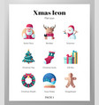 christmas icons flat pack vector image