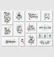 christmas new year lettering typography set vector image vector image